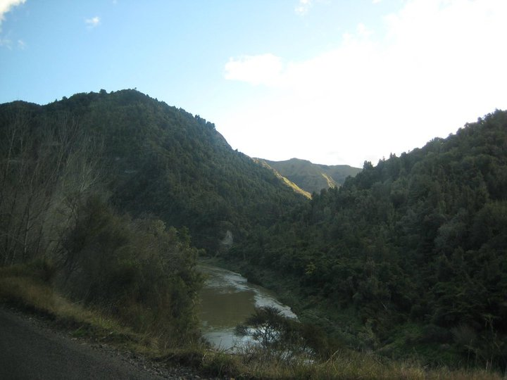 Dirt roads and cliffs that drop off to rivers.