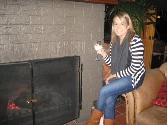 Warming up with a fire and sav blanc.