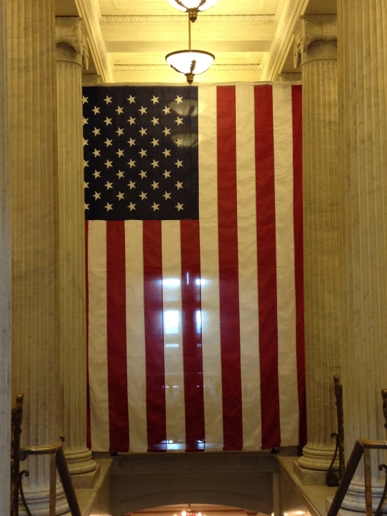 Flag inside the Capitol Building.