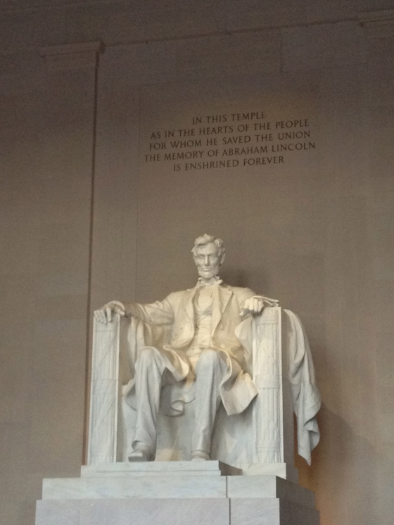 Inside the Lincoln Memorial.
